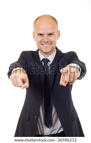 young businessman pointing to you with both hands