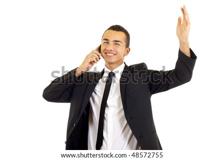 young businessman portrait. isolated, calling with cellphone and gesturing success