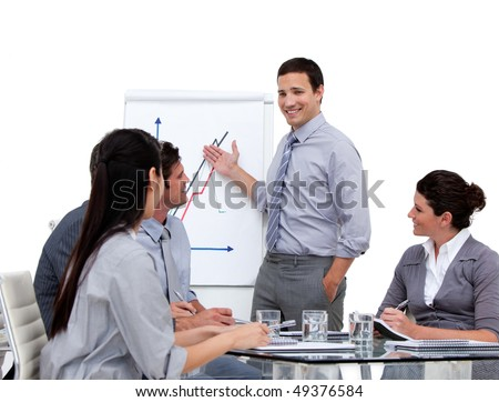 Young businessman presenting statistics in a company against a white background