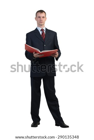 Young businessman reading book isolated on white background
