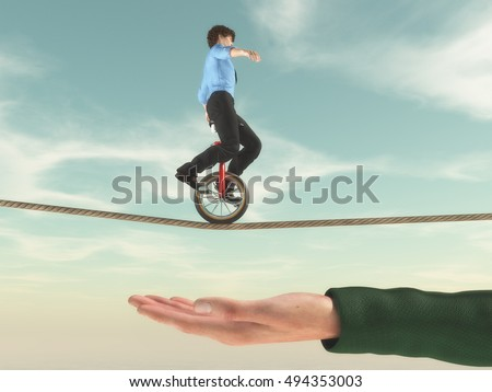 Young businessman riding a unicycle on a rope in balance with a hand under him. This is a 3d render illustration