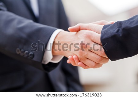 Young businessman shaking hands with his partner