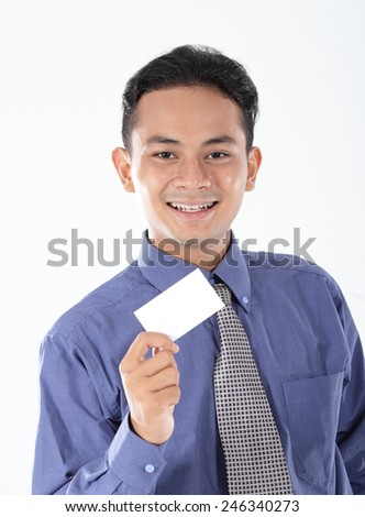Young businessman show blank business card