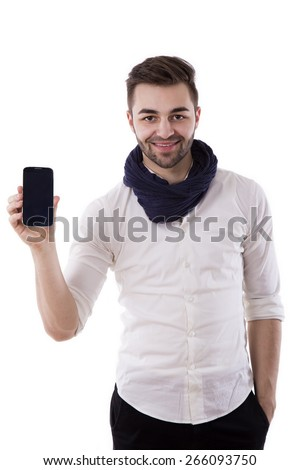 young businessman showing his mobile to camera on white background - stock photo