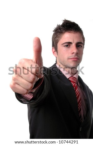 young businessman showing thumb up isolated over white background