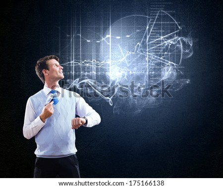 Young businessman smoking pipe with diagrams and graphs at background