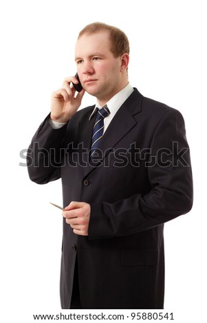 young businessman speaking mobile phone isolated on white background