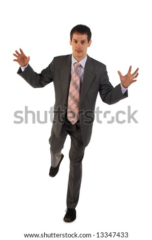Young businessman stand on one leg isolated on white