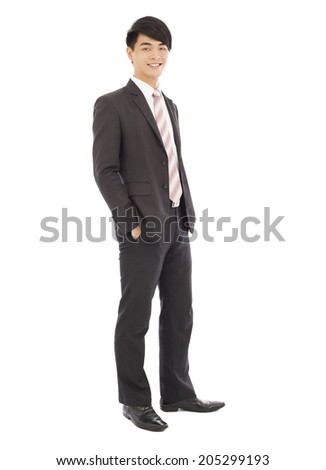 young businessman standing and hands on pocket. isolated on white