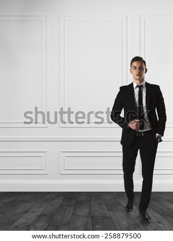 Young businessman standing in classic wall interior - stock photo