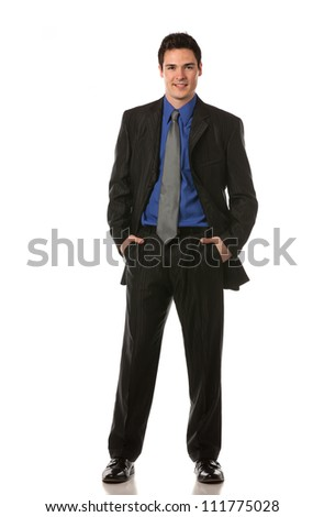Young Businessman Standing Smiling Full Body Length  on Isolate White Background - stock photo