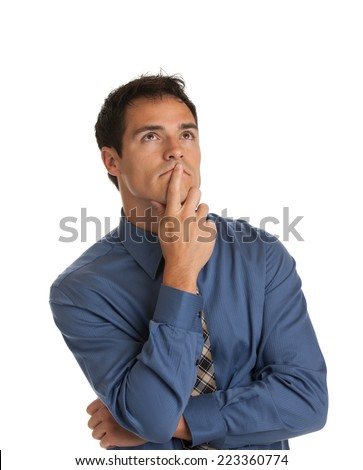 Young Businessman Standing Thoughtful Gesture on Isolate White Background - stock photo