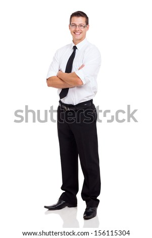 young businessman standing with arms crossed on white background - stock photo