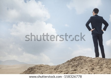 Young businessman standing with hands on hips looking out over the desert