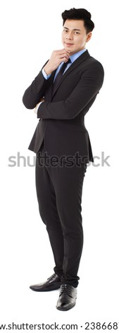 young businessman standing with thinking gesture