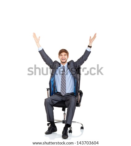 young businessman successful excited smile with raised hands palms sitting in chair, portrait of business man hold hand up in air, full length isolated over white background