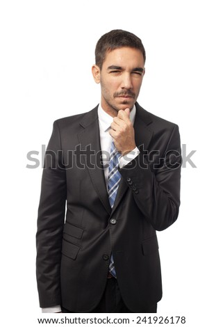Young businessman thinking