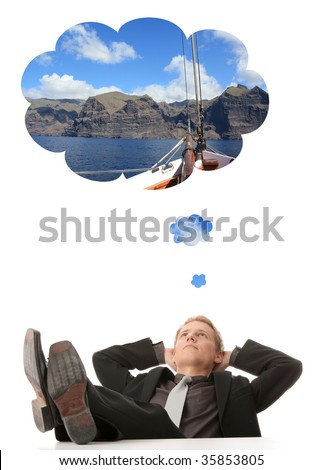 Young businessman thinking about vacations (sailing) - stock photo