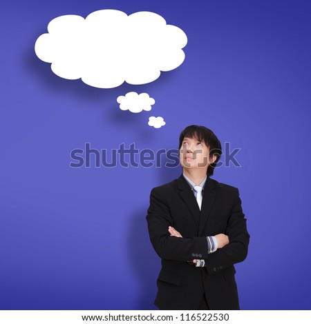 Young businessman thinking with a thought bubble