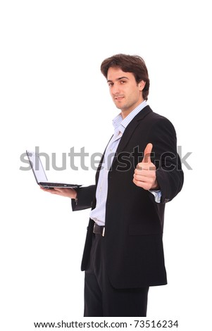Young businessman use laptop on white background. - stock photo