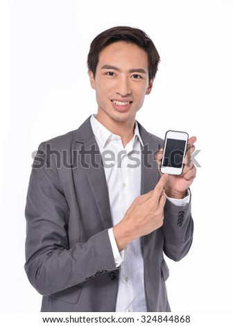 Young businessman use mobile phone - stock photo