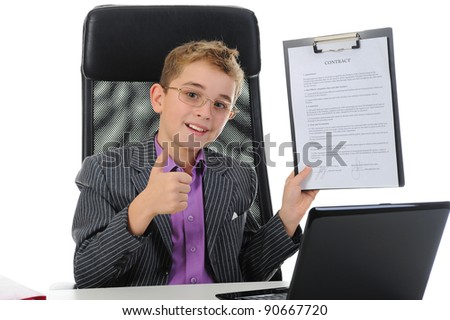 Young businessman using a laptop. Isolated on white background - stock photo