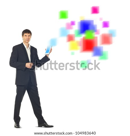Young businessman using a Tablet Computer and a futuristic digital depiction of social media over white background - stock photo