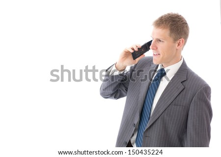 young businessman using cellphone on white background