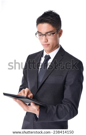 Young Businessman Using Digital Tablet Isolated
