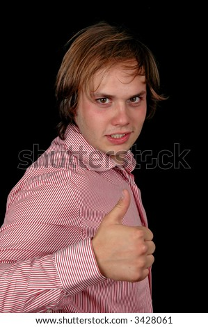 young businessman whowing thumb up