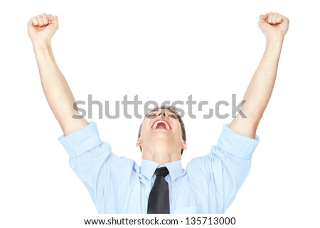 Young businessman with arms outstretched celebrating success isolated on white background - stock photo