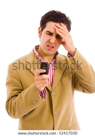 Young businessman with bad news on his cell phone, isolated on white - stock photo