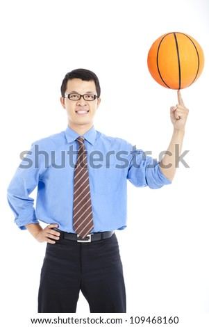 young businessman with basketball - stock photo