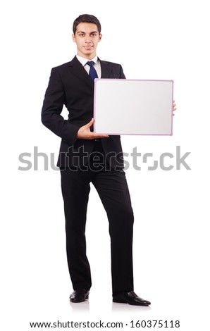 Young businessman with blank board - stock photo