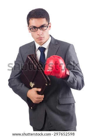 Young businessman with briefcase and box gloves  isolated on white