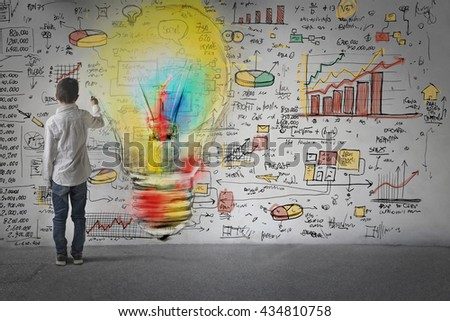 Young businessman with creative ideas - stock photo