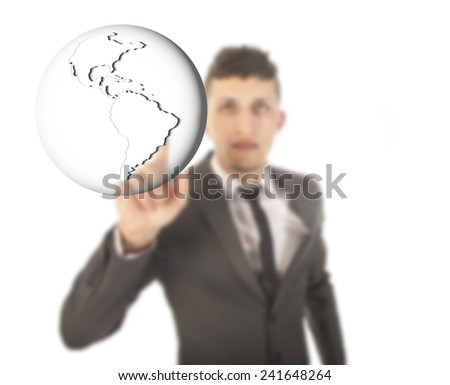 Young businessman with earth globe isolated on white background - stock photo