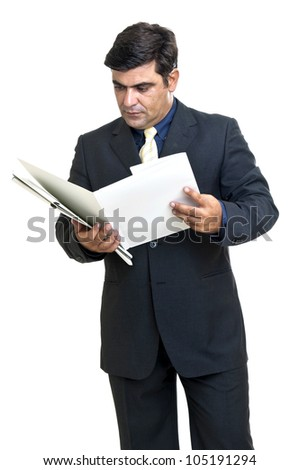 Young businessman with files in a white background