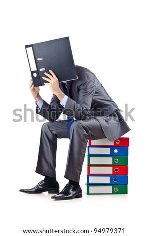 Young businessman with folders on white