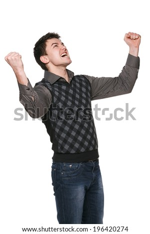 Young businessman with his arms raised in triumph, over white - stock photo