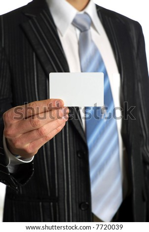 Young businessman with his businesscard