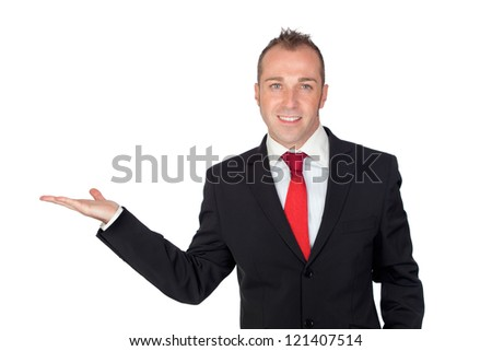 Young businessman with his hand extended isolated on white background - stock photo