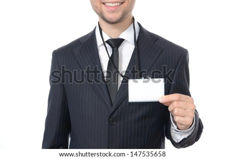 Young businessman with identification card isolated - stock photo