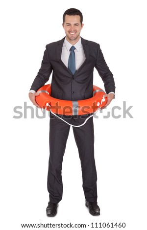 Young businessman with life buoy. Isolated on white - stock photo