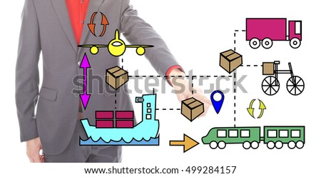 Young businessman with logistic icons isolated on white background