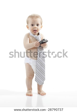 Young Businessman with Phone and Tie - stock photo