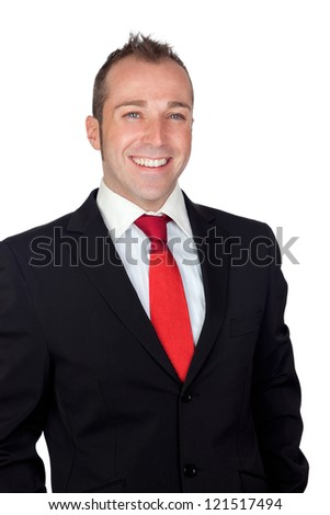 Young businessman with red tie isolated on white background - stock photo