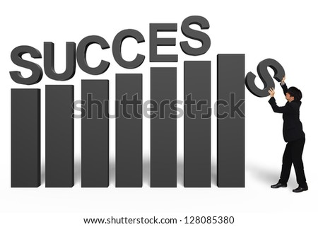 Young businessman with success 3d text, Isolated over white, Success in business concept - stock photo