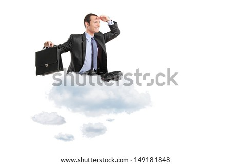 Young businessman with suitcase sitting on a cloud isolated on white background - stock photo