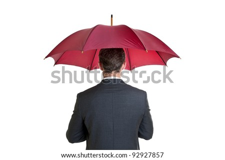 Young businessman with umbrella isolated in white